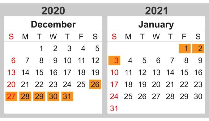 年末年始休暇( 12/26 ~ 1/3 )のお知らせ